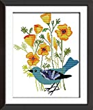 Cross Stitch Embroidery Starter Kit Including 14ct Stamped Aida Pre-Sorted Colored Threads And Tools Cotton Fabric Patterned with Design of Blue Bird (14ct Stamped)