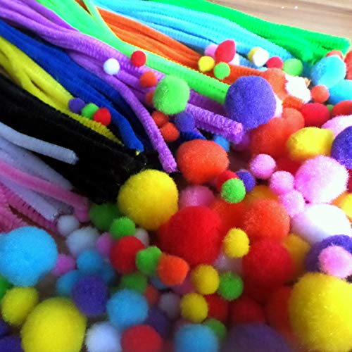 Pipe Cleaners Set, 500pcs Assorted Colors DIY Craft Decoration Party Favor Supplies Including 100pcs Chenille Stems, 250pcs Pom Poms,150pcs Self-Sticking Wiggle Googly Eyes as Educational Toy for Kids