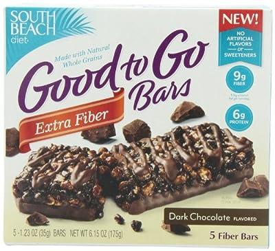 South Beach Diet Good To Go Fiber Bar, Dark Chocolate, 5-Count(Pack of 4)