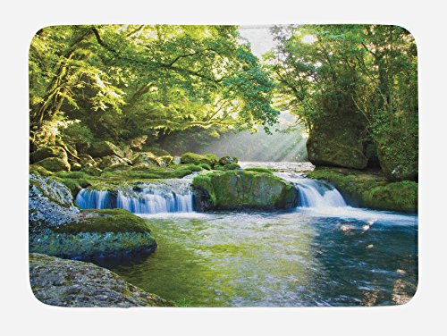 Ambesonne Rainforest Bath Mat, Foliage Jungle Misty Mountains Waterside River Shaft with Sunbeams Image, Plush Bathroom Decor Mat with Non Slip Backing, 29.5 W X 17.5 L Inches, Green Yellow ()