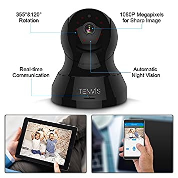 TENVIS 1080P IP Camera- Wireless Surveillance Camera, Indoor Security Camera with PTZ, Night Vision, Two-Way Audio, 2.4Ghz WiFi Home Dome Camera for Pet Baby Monitor, Work with Android iOS App