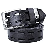 HAWSON Genuine Leather Belt for Men Hollow Out Design Full Grain Dress Belts with Pin Buckle