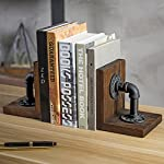 MyGift Industrial-Style Pipe & Rustic Wood Tabletop Bookends, 1-Pair 8
