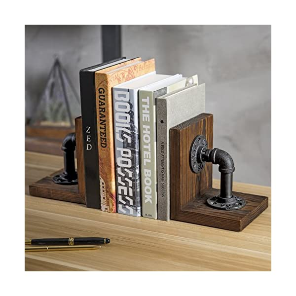 MyGift Industrial-Style Pipe & Rustic Wood Tabletop Bookends, 1-Pair 5