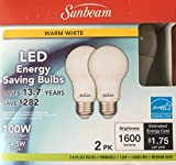 Sunbeam 100W LED DIMMABLE A19 / A21 Light 2 PACK, ENERGY STAR, 1600 Lumens, 3000K WARM WHITE, 14.5 Watt, 100 Replacement / Equivalent