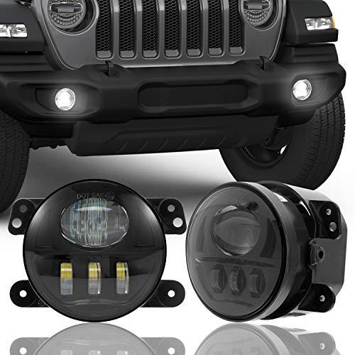"4"" LED Fog Lights for Jeep Wrangler JK JKU TJ LJ JL Gladiator Edition Rubicon Sahara Dodge Chrysler Cherokee Front Bumper Driving Lamps"