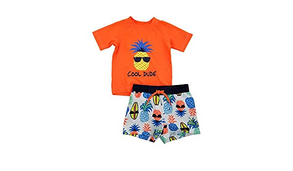 Infant Boys Orange//White Cool Dude Pineapple Rash Guard /& Swim Trunks Set