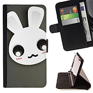 DEVIL CASE - FOR Samsung Galaxy S6 EDGE - Cute Moustache Bunny Rabbit - Style PU Leather Case Wallet Flip Stand Flap Closure Cover