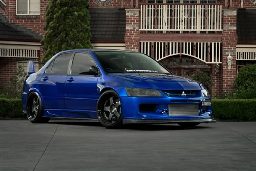 Mitsubishi evo Blue Right Front Widebody on Black Wheels HD Poster 36 X 24 Inch Print