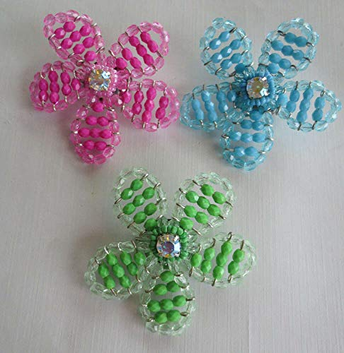 LOT of 3 Crystal Aurora Borealis Rhinestone Plastic Bead Flower BROOCHES
