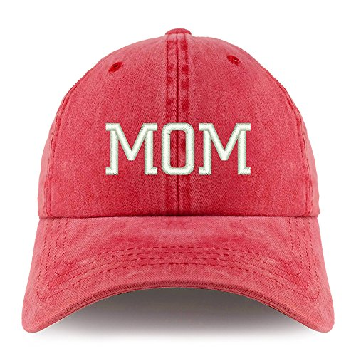 Trendy Apparel Shop Mom Embroidered Pigment Dyed Unstructured Cap - Red ()