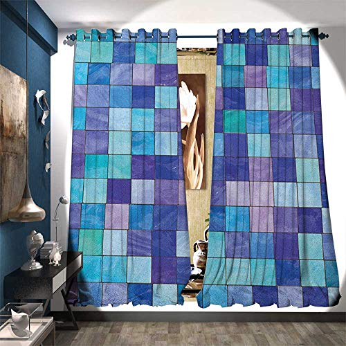 urtain Fabric Stained Glass Inspired Design Checkered Pattern Dreamy Fantasy Colors Shades Patterned Drape for Glass Door W72 x L108 Multicolor ()