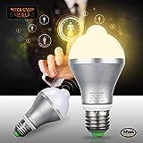 Motion Sensor Light Bulb 9W E27 Smart PIR LED Bulbs Auto On/Off Night Lights for Stairs Garage Corridor Walkway Yard Hallway Patio Carport (Warm White)