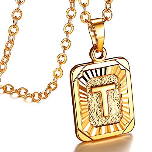 FOCALOOK Initial Letter Pendant Necklace Mens Womens Yellow 18K Gold Plated Square Script Capital Initial Jewelry Stainless Steel Ajustable Gold Link Chain 22 Inch Monogram Necklace Gift(Alphabet T)