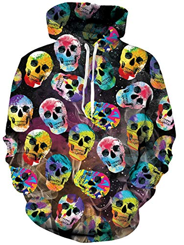 RAISEVERN Mens 3D Colorful Skeleton Printed 80s Pullover Long Sleeve Personalized Fleece Hooded Sweatshirts,2018 Style -
