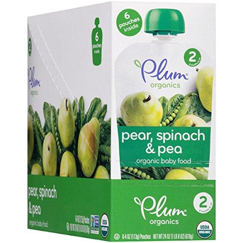 Plum Organics Stage 2 Purees - Pear, Spinach & Pea - 4 oz - 6 pk (Pear Puree)