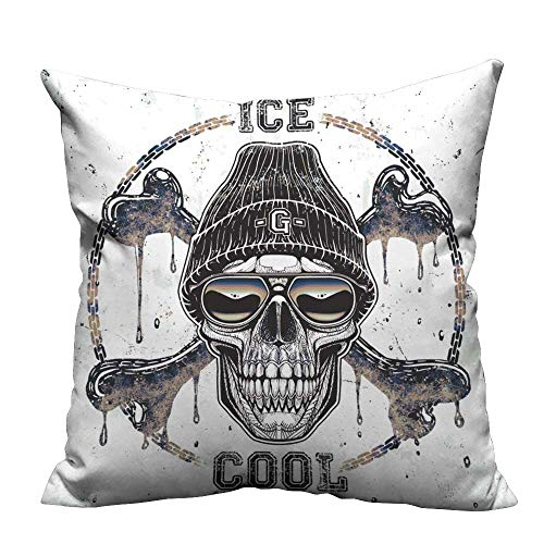 YouXianHome Print Bed Pillowcases Ghetto Skull t Shirt Graphi Washable and Hypoallergenic(Double-Sided Printing) 35x35 inch