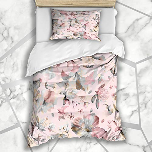 Ahawoso Decorative Duvet Cover Sets Twin 68X90 Inches Leaf Abstract Watercolor Pattern Wildflowers Petunias Sepia Floral Pink Blossom Botanical Design Microfiber Bedding with 1 Pillow ()