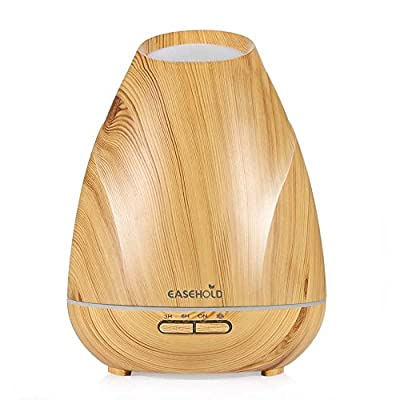 Easehold 400ml Aromatherapy Essential Oil Diffuser Humidifier Ultrasonic Continuous Intermittent Cool Mist 4 Timer Settings for Home Office