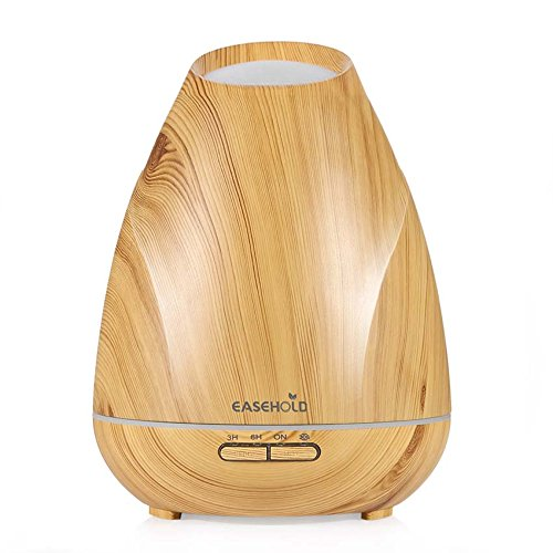 Easehold Aromatherapy Essential Oil Diffuser,400ml Ultrasonic Humidifier 20H Intermittent Mist 4 Timer 7 Mood Light for Home Office,Light Wood Grain