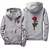 Men's Women Casual Hooded Jacket Windbreaker Embroidery Rose Spring Fall Streetwear College Style G-Real