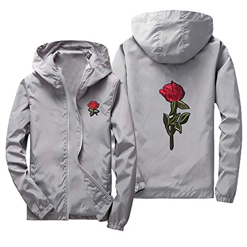 Sunhusing Mens Casual Jacket Hooded Top Solid Color Exquisite Rose Embroidered Print Coat Outwear ()