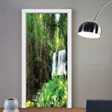 Niasjnfu Chen custom made 3d door stickers Waterfall Decor Spring Waterfall Hidden in Forest with Botanic Blossoms and Sunshine Green and White For Room Decor 30x79
