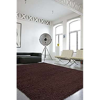 Sweet Home Stores Cozy Shag Collection Solid Shag Rug Contemporary Living & Bedroom Soft Shaggy Area Rug, 60  L x 84  W,  Brown