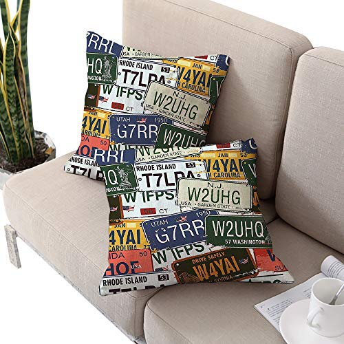 Brentwood Twelve Collection Light (Vintage Decor Square custom pillowcase ,Original Retro License Plates Personalized Gifts Creative Travel Collections Art Multi Color W20