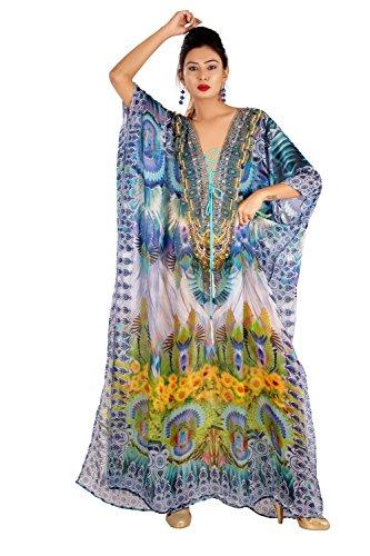 New 100% silk kaftan swaroski beads digital printed lace up full length caftan silk 283 by Leena Fahhion World