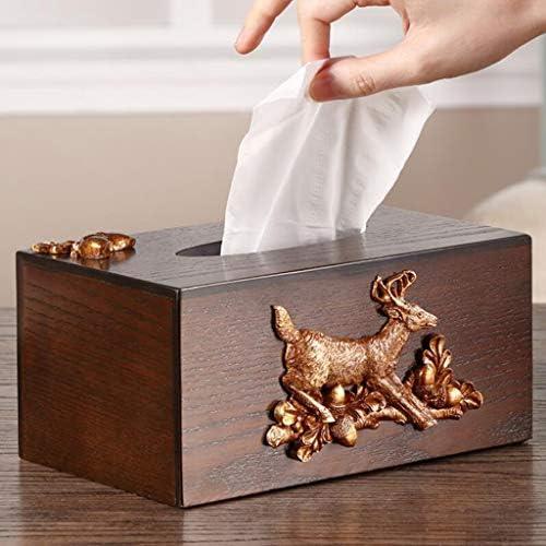 AFQHJ Haushalts Tissue Box Amerikanischen Vintage Buch Box multifunktions Tissue Storage Box Massivholz Couchtisch Tissue Box Tissue Box Cover Gesicht (Color : B)