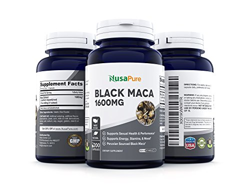 Best Black Maca Root 1600mg 200 Capsules (Non-GMO & Gluten Free) Max Strength - Maca Root Extract Supplement from Peru - Support Reproductive Health - 100% Money Back Guarantee - Order Risk Free! by NusaPure (Image #5)