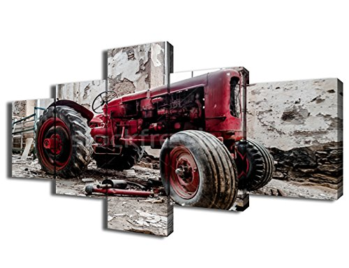 Rustic Wall Decor Old Car Wreck Paintings 5 Piece Canvas Wall Art for Bedroom, Pictures HD Prints on Canvas Artwork for Living Room Home Decor Framed Gallery-wrapped Ready to Hang(50''Wx24''H)