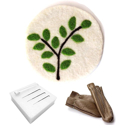 Artec360 Merino Felt Wool Coaster Design No Impurities Needle Felting Kit with 3 Needles, 1 Pair Leather Glove, 1 Foam Mat and Tutorial for Felting Starter Kits Diameter 4