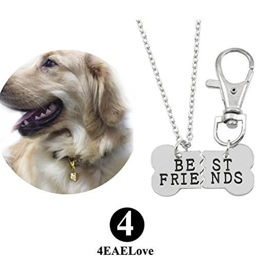 4EAELove Best Friend Dog Necklace Engraved Bone Pendant Pet Tag Keychain Collar Dog-Human Dog Lover Stainless Steel Silver -