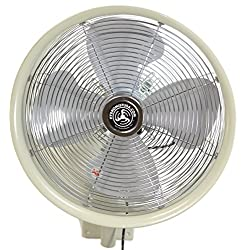 "HydroMist F10-14-012 18"" Shrouded Outdoor Wall Mount Oscillating Fan, 3 Speed On Cord, 0.15 HP, 1.05 Amps, White"