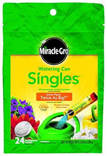 Miracle-Gro 1013203 Watering Can Singles All Purpose Water Soluble Plant Food, 24-8-16, 24-Pack - Indoor Single