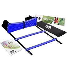 Reehut Agility Ladder w/ FREE USER E-BOOK + CARRY BAG - Speed Training Equipment (Blue, 12 Rungs)