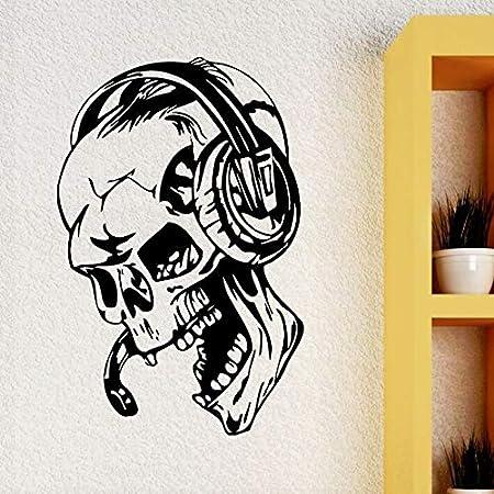 GUUTOP Pegatinas de Pared Gamer Skull Music Auriculares Tatuajes ...