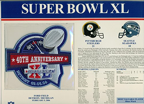 Super Bowl XL Official Patch Pittsburgh Steelers vs Seattle Seahawks at Ford Field, Detroit Michigan (Pittsburgh Steelers Fan Memories)