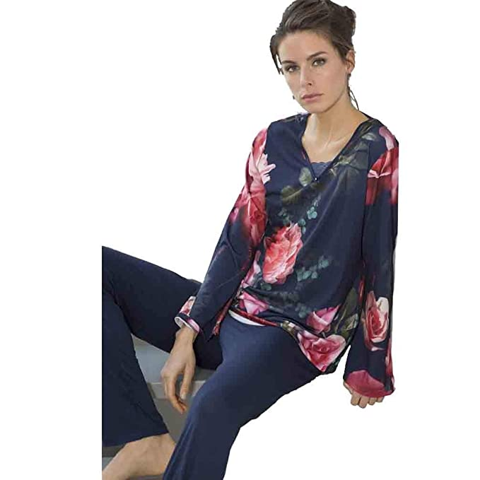 MASSANA Pijama de Mujer Estampado Flores P681242 - Marino, XXL