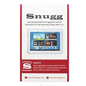 Snugg Galaxy Note 10.1 Anti Fingerprint and Anti Bacterial Screen Protectors (pack of 2) - Includes Microfiber Cloth and Anti Bubble Leveler