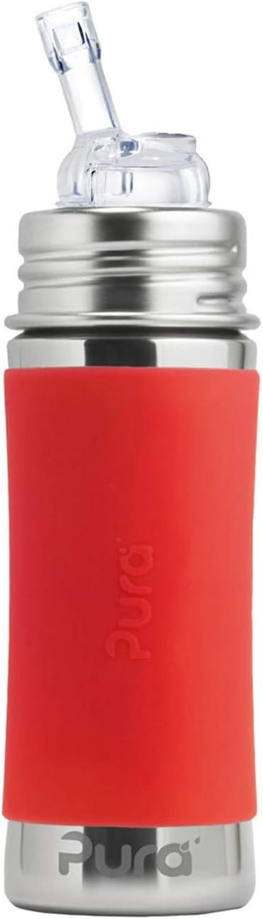Botella de 300 ml//325 ml de Acero inoxidable con pajita Incluye funda de viaje de silicona en Color Naranja