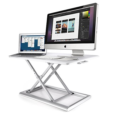 AboveTEK Compact Solid Aluminum Standing Desk, 30 Desktop Platform Height Adjustable w Smooth Air Assist, Instant Sit Stand Converter Dual Monitor Laptop Computer Riser at Home Office White