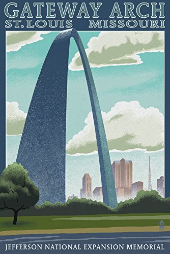 St. Louis, Missouri - Gateway Arch Lithography Style 50411 (16x24 SIGNED Print Master Art Print - Wall Decor Poster)