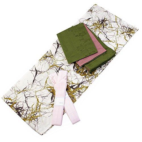 Womens Cotton Yukata 3items set Japanese Summer Kimono Branches Free size by Kimono Japan