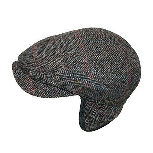 Wigens Mens Hans Harris Tween Longshoreman Cap with Earflaps, 59, Brown