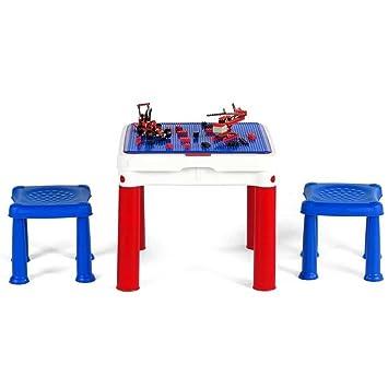 Keter mesa mesa construcción para niños con 2 sillas taburetes y ...