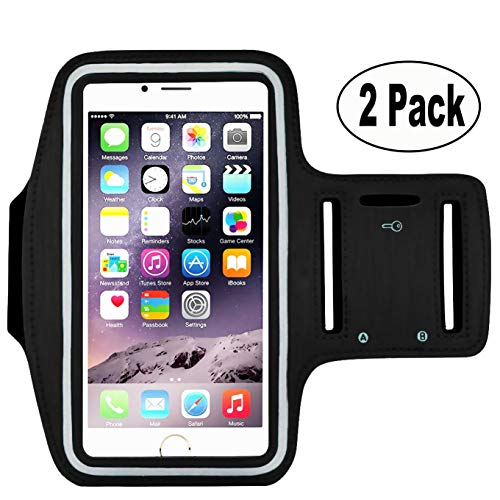 [2pack] Sports Armband Sweatproof Running Armbag Gym Fitness Workout Cell Phone Case Key Holder Wallet Card Slot iPhone X 8 7 6 6s Plus Samsung Galaxy S5 S6 S7 S8 Edge 5.5 inch (Black) (Cassette Case Galaxy S5)