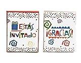 Esta Invitado y Gracias Spanish Party Invitations and Thank Yous for 16 Guests